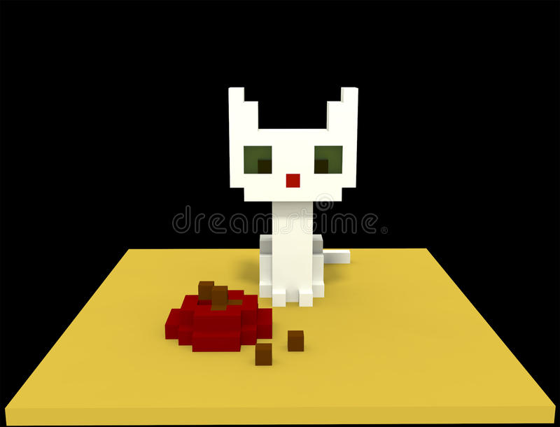 White cat in voxel style royalty free stock photos