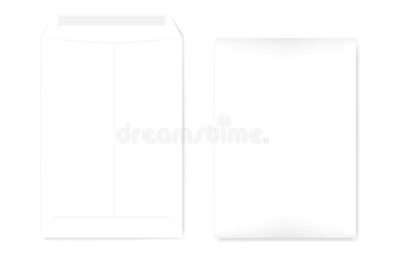 A4 white catalog envelope with self adhesive seal, vector template vector illustration