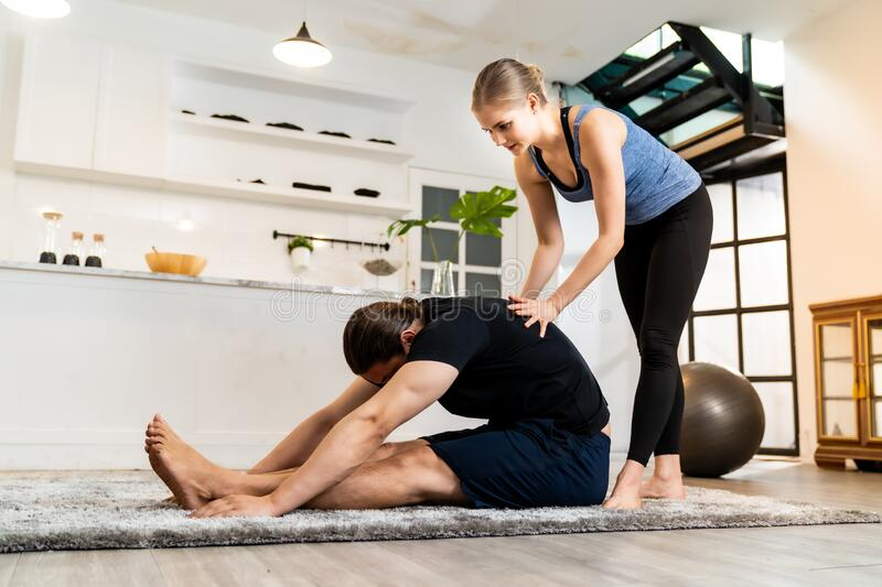 Yoga training at home royalty free stock images