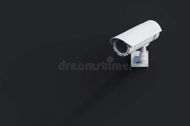 White CCTV camera on a black wall royalty free illustration