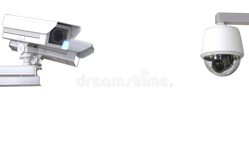 White cctv camera or security camera isolated on white. 3d rendering white cctv camera or security camera isolated on white stock photography