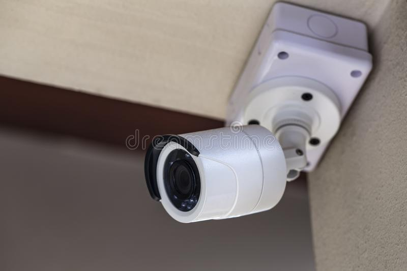 White CCTV in a white theme house stock photography
