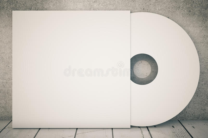 White CD. White compact disk on concrete background. 3D Rendering stock illustration