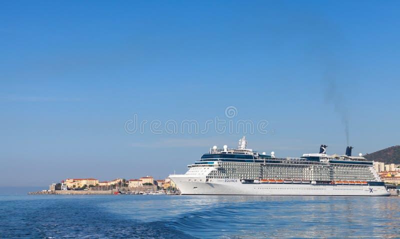 White Celebrity Equinox cruise ship in Ajaccio royalty free stock image