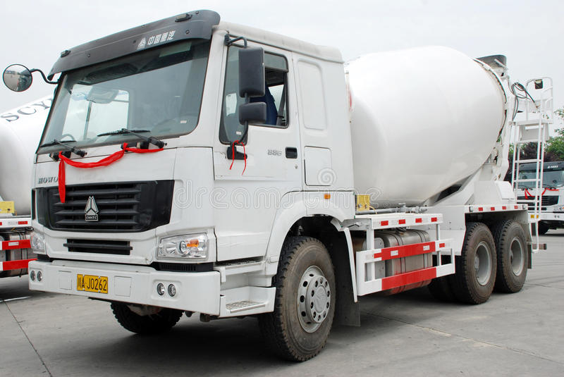 White Cement Mixer Truck royalty free stock photography