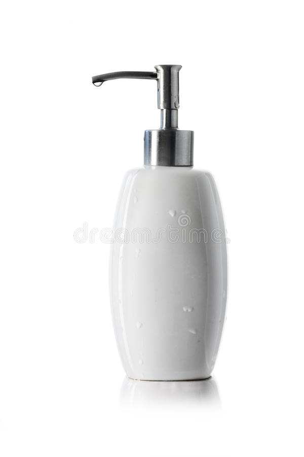white ceramic bottle with dispenser pump for liquid soap, shampoo or gel isolated on white stock photos