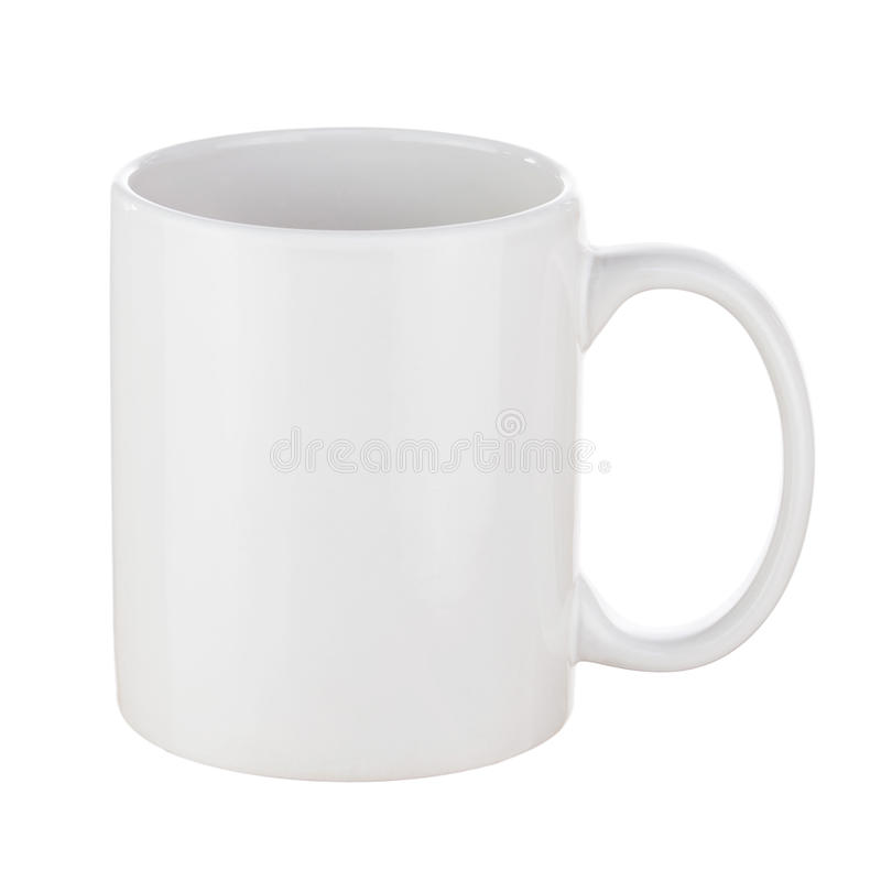 White Ceramic Coffee Cup Isolated on White Background. Side View stock photo