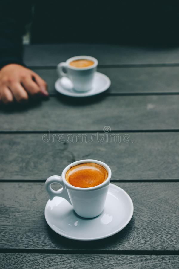 White Ceramic Coffee Cup and Saucer stock photo
