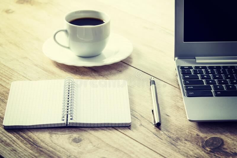 White Ceramic Cup On White Round Saucer Near Spiral Notebook Free Public Domain Cc0 Image