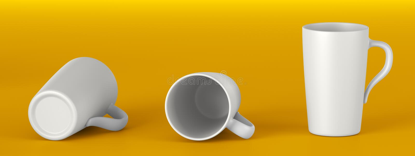White ceramic mug. Mock up Template for application design. Beautiful white ceramic mug. Front view, Lying on its side, the Bottom. Mock up Template for royalty free stock image