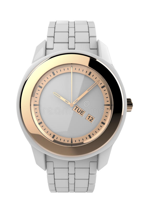 White ceramic wristwatch. With pink gold elements, isolated on white stock illustration