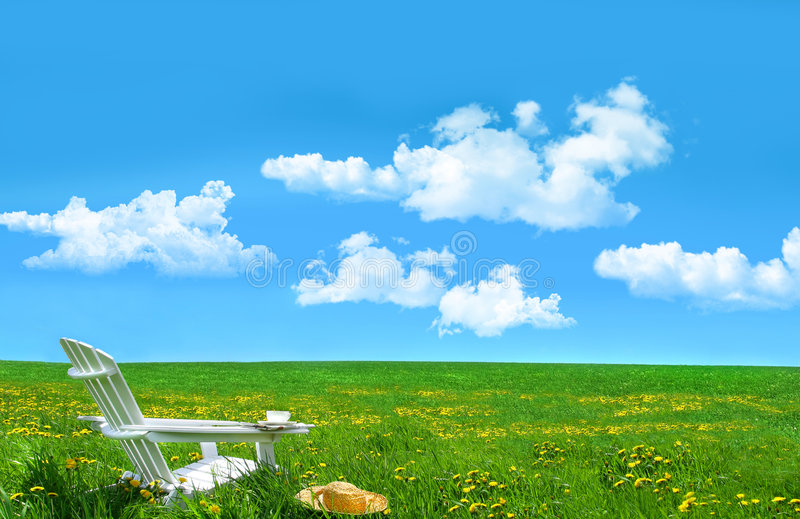 Download White Chair And Hat In A Field Of Dandelions Stock Image - Image: 6789399