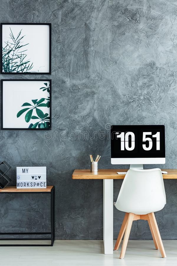 Free White Chair In Monochromatic Room Stock Image - 101558461