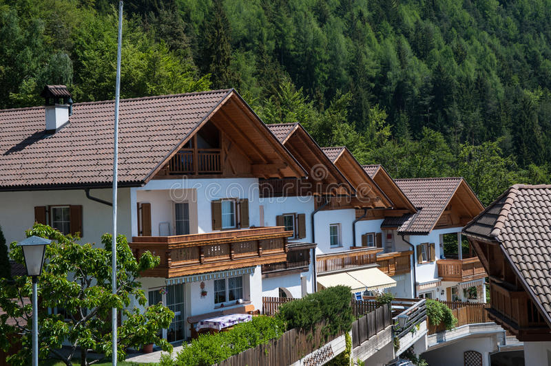 White chalets in northern Italy. White chalets in south Tyrol region of northern Italy royalty free stock image