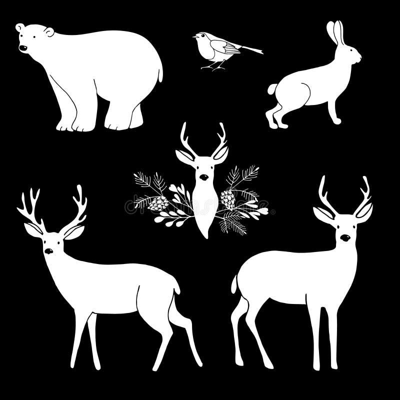 White chalk animals. Cute polar bear and reindeer. Vector illustrations. stock illustration