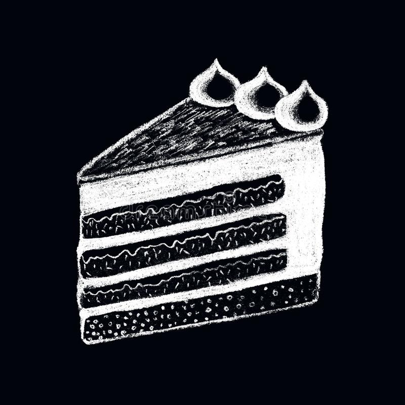 White chalk cake piece drawing on blackboard. Sweet pie piece doodle illustration. royalty free illustration