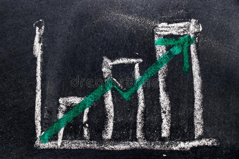 White chalk draw as bar chart and green chalk as upward arrow. White chalk draw as bar chart and green chalk draw as upward arrow on black board background & x28 royalty free stock photography
