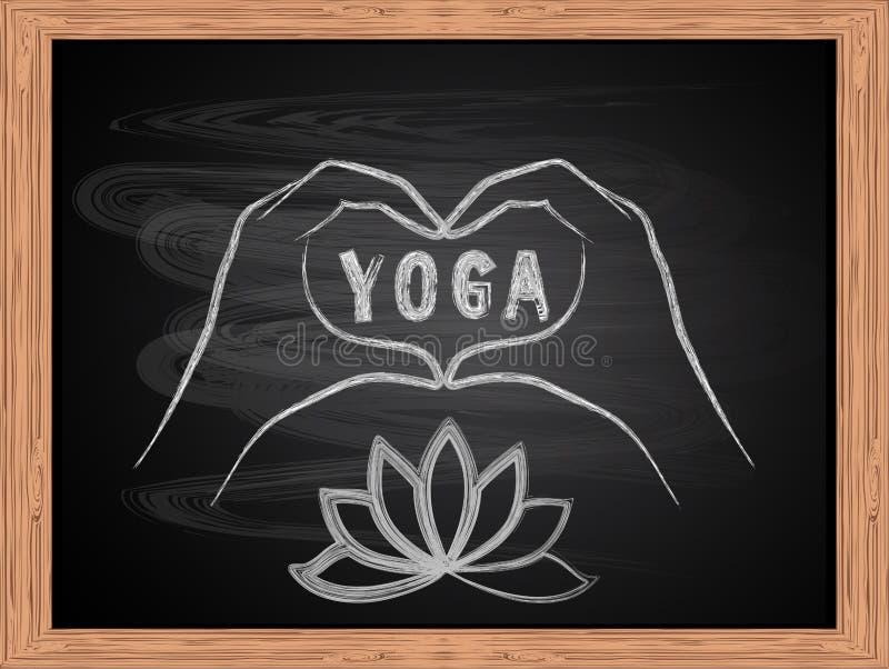 White chalk drawing of hands making a heart shape on school blackboard flat design. Love yoga concept. White chalk drawing of hands making a heart shape on royalty free illustration