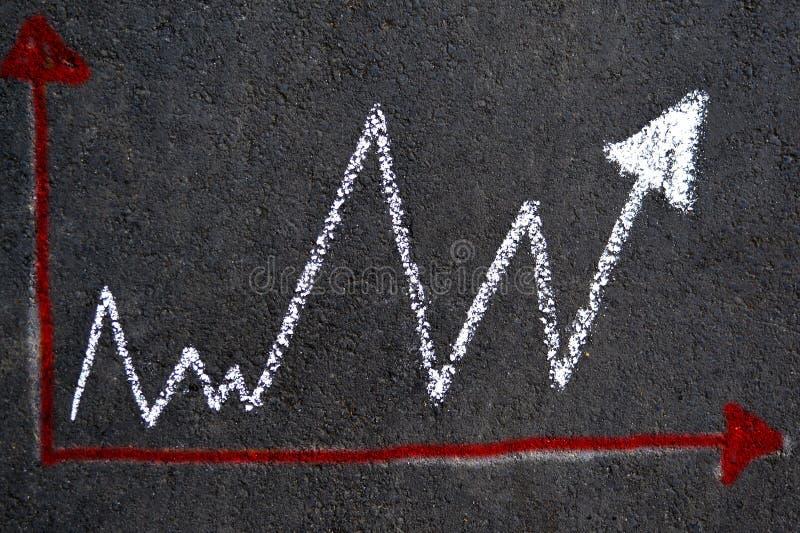 White chalk graph on asphalt stock photo
