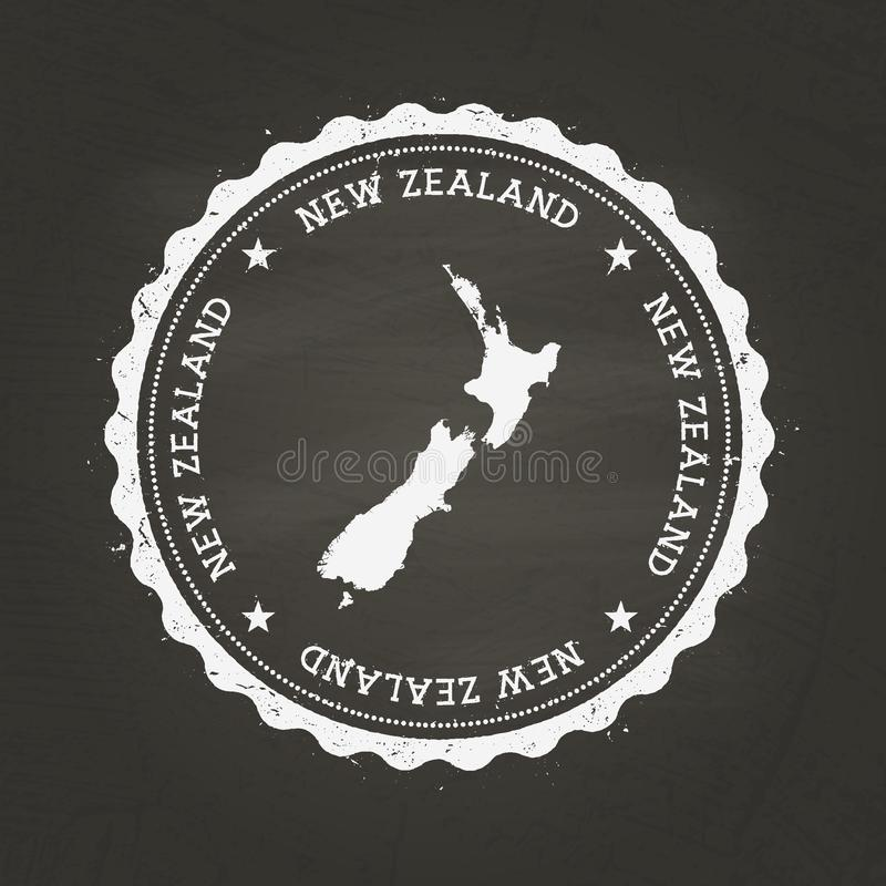 White chalk texture rubber stamp with New Zealand. stock illustration