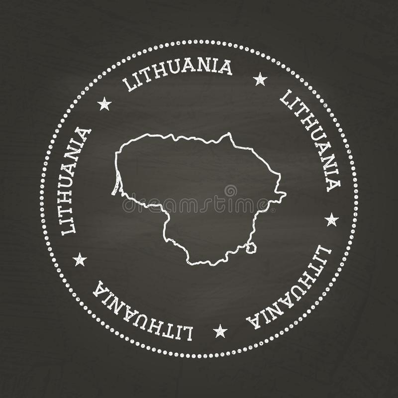 White chalk texture vintage seal with Republic of. White chalk texture vintage seal with Republic of Lithuania map on a school blackboard. Grunge rubber seal royalty free illustration