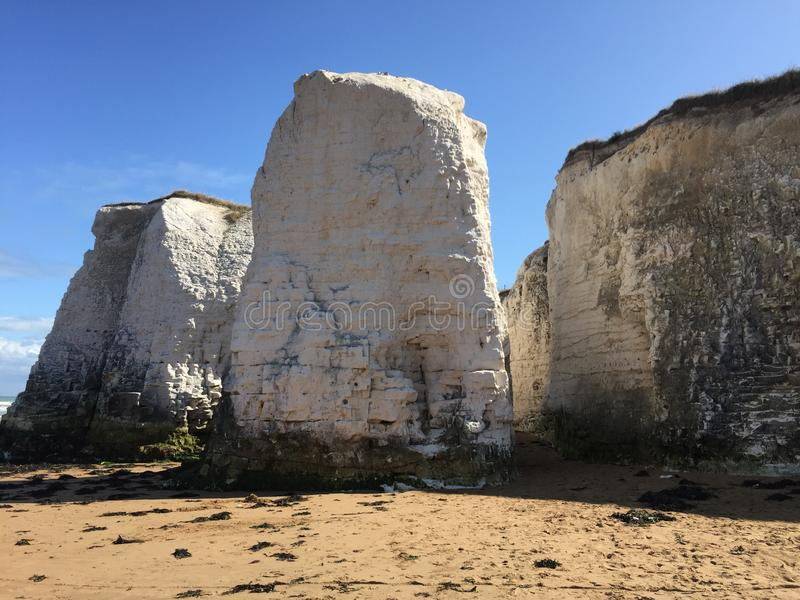 White chalky cliffs of the East Coast of Britain. Adorning the seaside landscape near Margate and Ramsgate royalty free stock photos