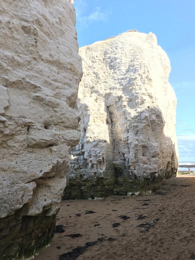 White chalky cliffs of the East Coast of Britain. Adorning the seaside landscape near Margate and Ramsgate stock images