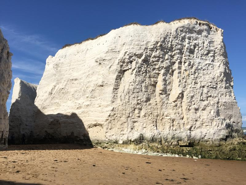 White chalky cliffs of the East Coast of Britain. Adorning the seaside landscape near Margate and Ramsgate stock photography