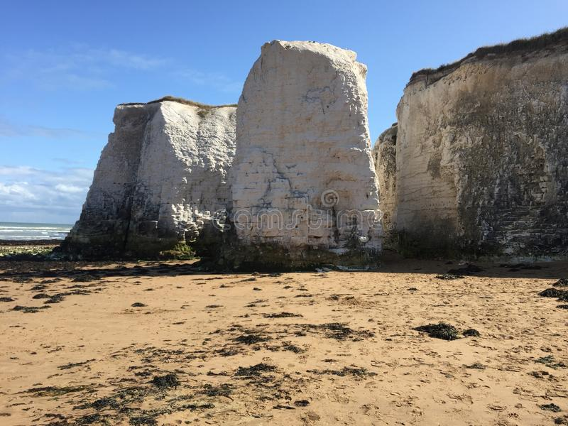 White chalky cliffs of the East Coast of Britain. Adorning the seaside landscape near Margate and Ramsgate stock photo