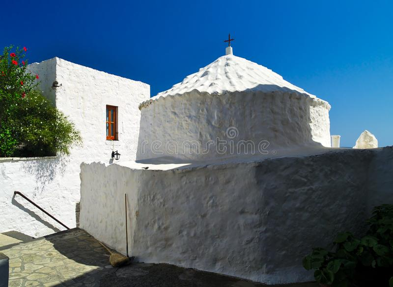 White chapel in Patmos Island, Greece. royalty free stock photo