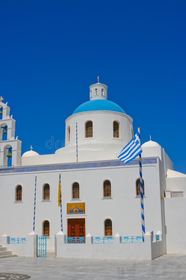 Download White chapel in Santorini stock image. Image of famous - 18206299