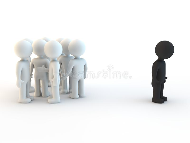 White character and exclusion vector illustration