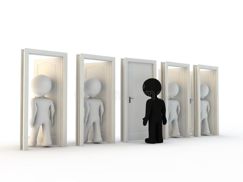 White character exclusion and door vector illustration