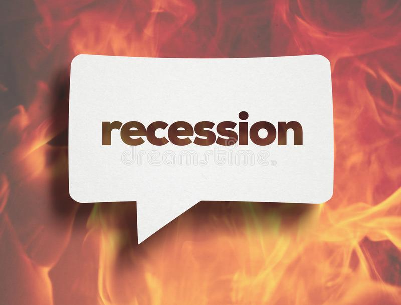Recession concept. White Chat Bubble over cardboard  and Recession text. In economics, a recession is a business cycle contraction when there is a general stock illustration