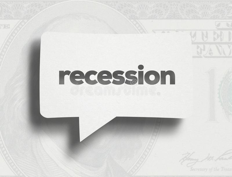 Recession concept. White Chat Bubble over cardboard  and Recession text. In economics, a recession is a business cycle contraction when there is a general royalty free illustration
