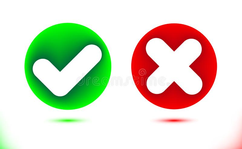 White checkmark and crosshair icon in green and red circles. Tick set symbol. Modern infographics colorful ornamental ui element royalty free illustration