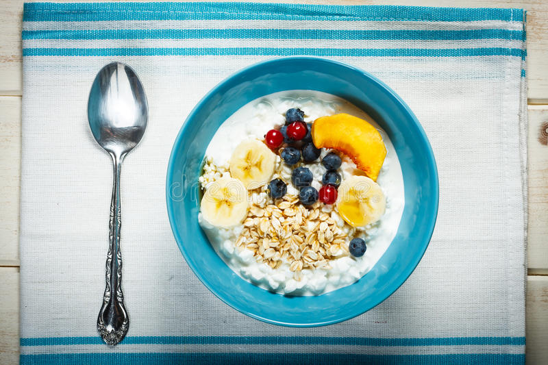 White cheese with fruit royalty free stock image