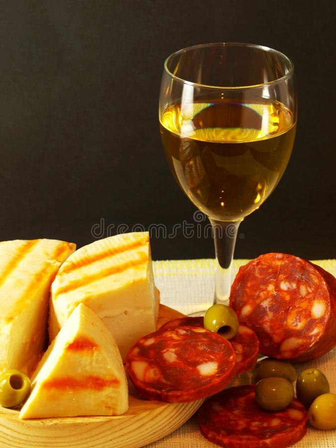 Free White, Cheese, Sausage And Olives 01 Royalty Free Stock Images - 27013229