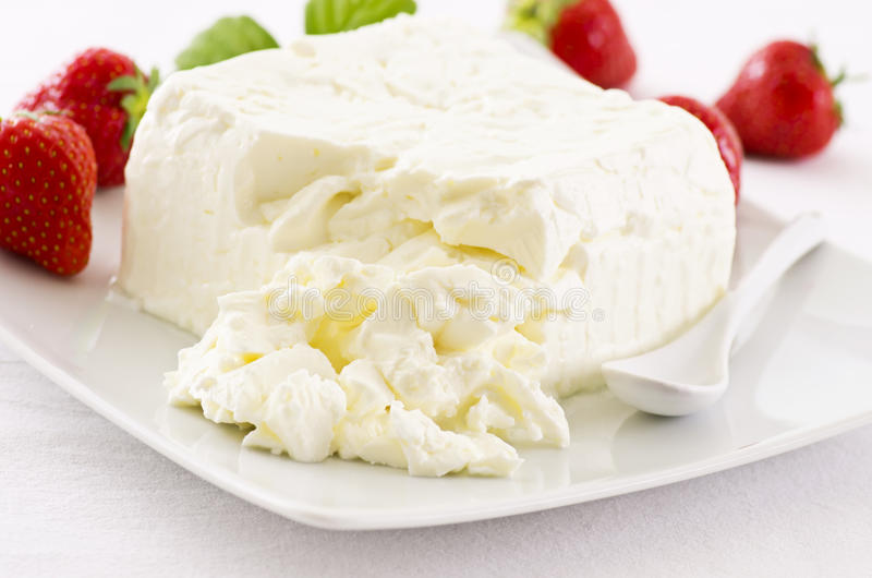 White Cheese with Strawberries stock image