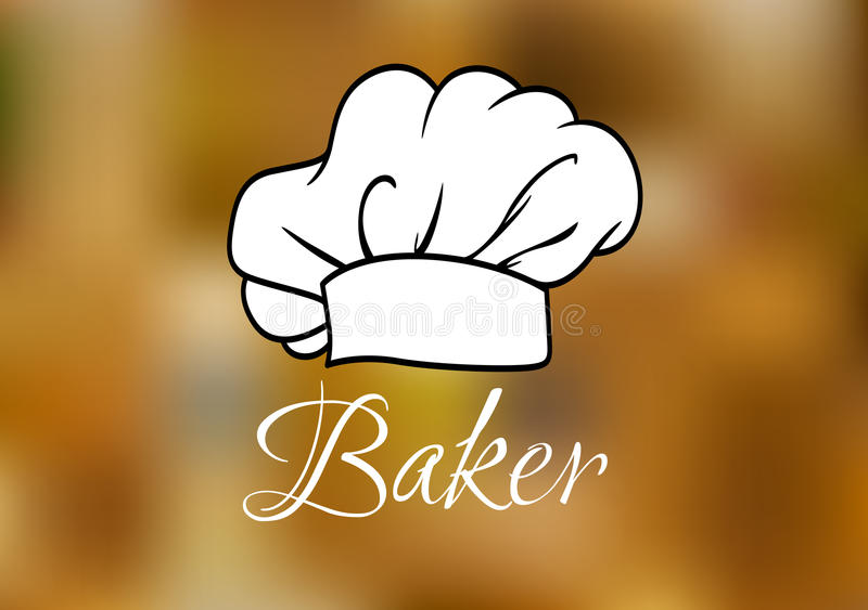 White chef cap ot toque. White chef and baker cap or toque traditional uniform with high headband and lush drapery on blurred background with caption Baker stock illustration