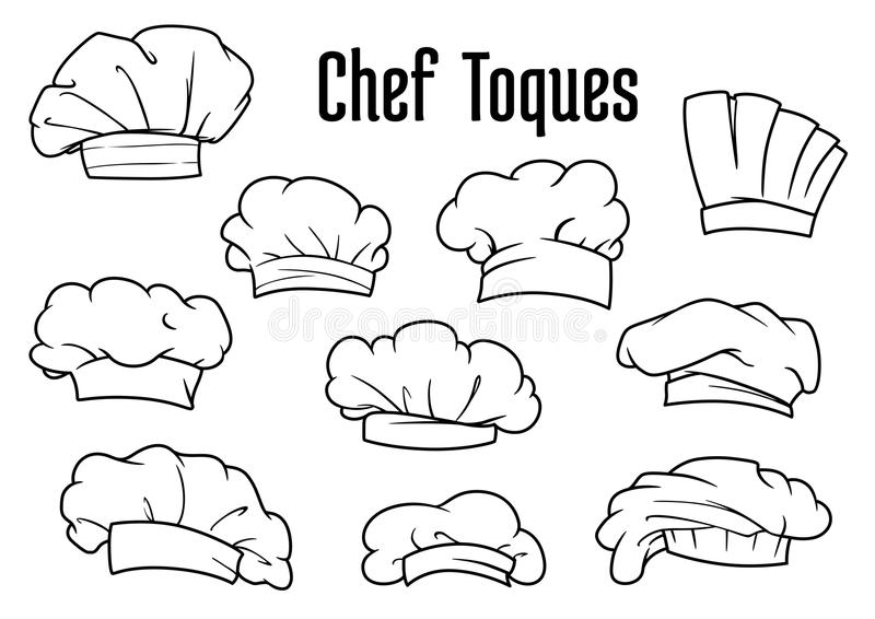White chef caps and toques set royalty free illustration