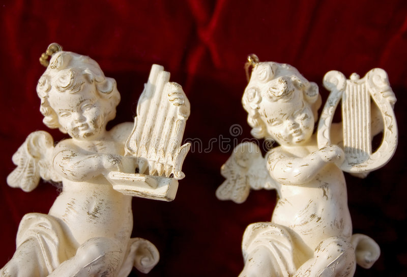 White Cherub Musicians royalty free stock photography