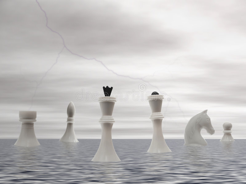 White chess advent. White chessmans advent by sea under the storming sky stock images