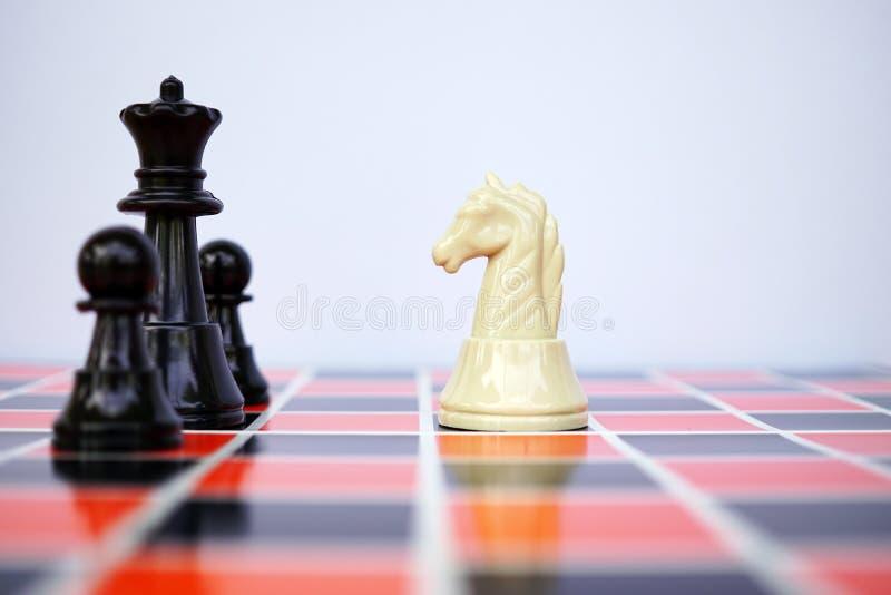 White chess knight facing black chess royalty free stock photos