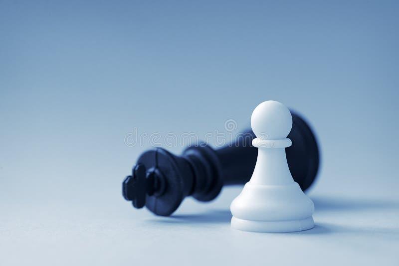 White chess pawn and black king royalty free stock photos