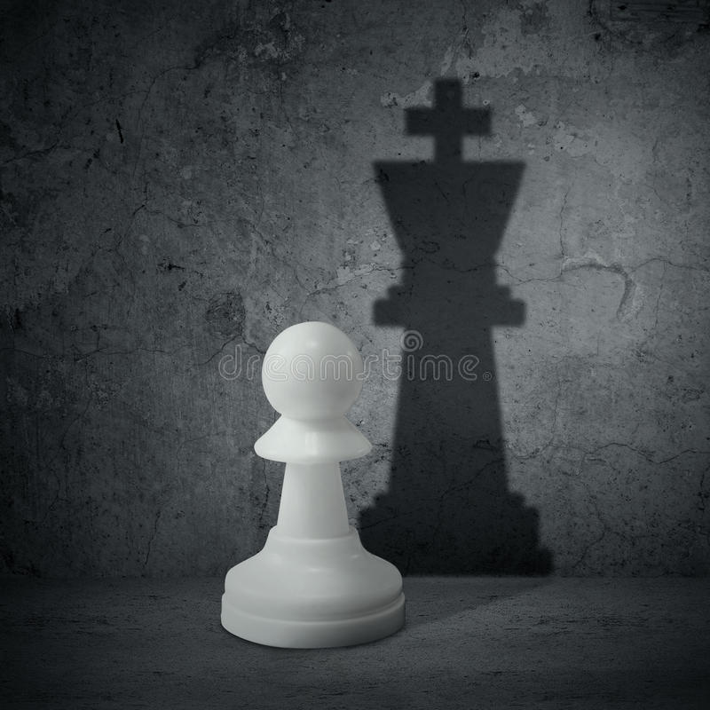 White chess pawn with shadow queen stock photography
