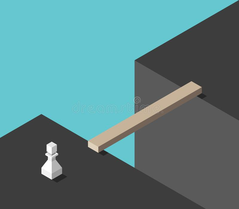 Pawn, gap, bridge. White chess pawn standing in front of large gap with bridge. Challenge, risk, problem, solution and adversity concept. Flat design. Vector royalty free illustration