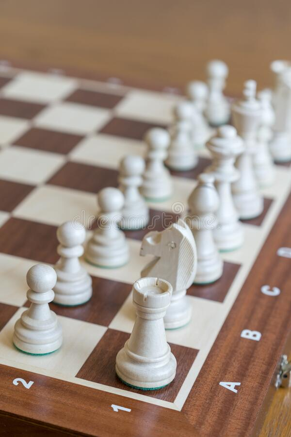 White Chess Pieces on a Chess Board. Vertical photo.  stock images