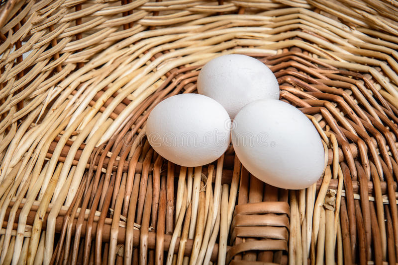 Download White Chicken Eggs On The Basket Stock Photo - Image of wooden, food: 39500138