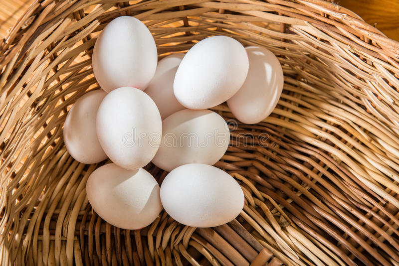Download White Chicken Eggs On The Basket Stock Image - Image of natural, fragile: 39500219